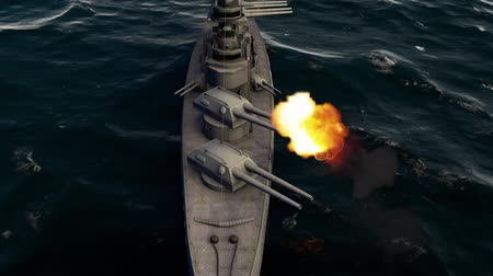 destroyer : 3d animation of a battleship firing with heavy caliber guns