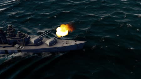 might : 3d animation of a battleship firing heavy caliber guns at high speed Stock Footage
