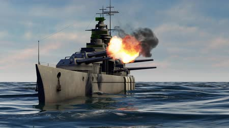 might : 3d animation of a battleship firing heavy caliber guns