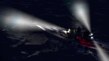 might : 3d animation of a battleship in the open ocean by night with the searchlights on