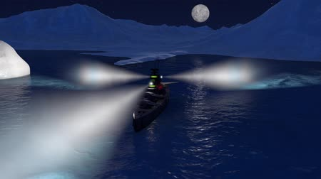 might : 3d animation of a battleship in the Arctic ocean by night with the searchlights on