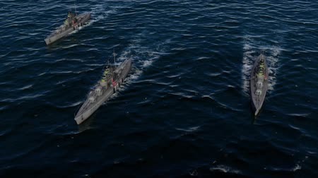 might : 3d animation of a battleship fleet in the open ocean at high speed