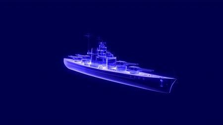 destroyer : 3d animation of a battleship hologram rotating and also loopable