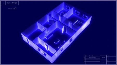 blueprint : 3d animation of a holographic house model, rotating and loopable