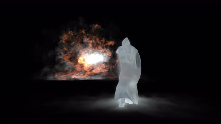 feiticeiro : Wizard defending with ice magic against fire attacks Stock Footage