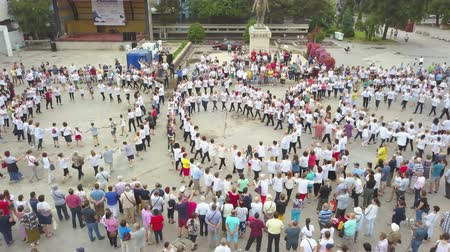 régiók : Danube Delta, Romania - June 24, 2019: Universal day of Romanian folk costume (Ia).People celebrate by dancing in public square.