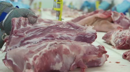 butchers shop : Butcher who cuts meat in a meat processing factory