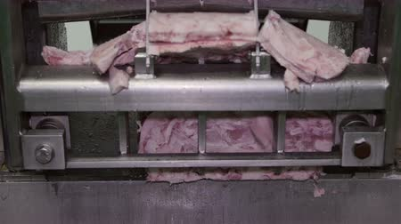 prase : Frozen meat cutting machine operating in a meat processing factory