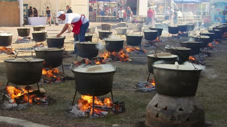 Jurilovca, Romania - 02 September 2019: Fish soup festival. Chefs cooking fish broth, outdoors in kettles. Dostupné videozáznamy