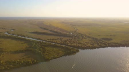catástrofe : Danube delta wetlands at sunset, aerial view Stock Footage