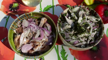 Marinated shad salad with onion and dill