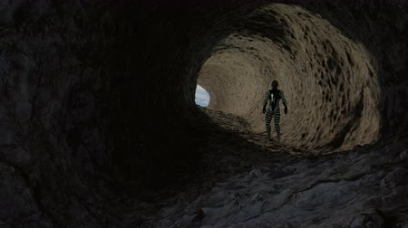 3d Animation of a reptilian humanoid exploring a cave Dostupné videozáznamy