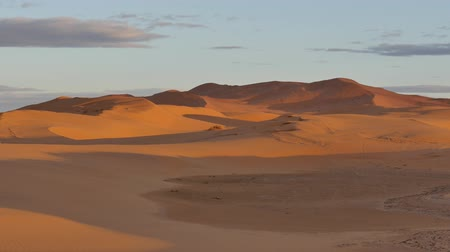 marrocos : Desert sunset: last rays of light on sand dunes. Erg Chebbi, Morocco, Africa. Vídeos