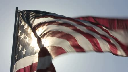 bandeira americana : American Flag Waves Backlit in Slow Motion. Vídeos