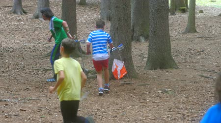 umma : Runner pass orienteering checkpoint in a forest. Running sport trail with navigation.