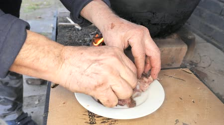 zuppa : An old chef breaks ribs in his fingers and checks the cooked meat on a white plate. Tasting during the preparation of an excellent dinner party. Filmati Stock
