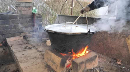やかん : Man puts chopped wood on open fire under suspended boiler. Water and meat are boiled in the boiler. 動画素材