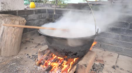 senhor : Stirring with spoon on fire. Preparing a goulash for a garden party.