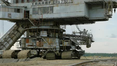 hawser : MOSCOW, RUSSIA - JULY 06, 2015 :Giant stacker absetzer in sand pit near Voskresensk, Russia