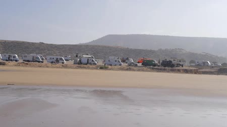 трейлер : many trailers at beach in Morocco, Africa