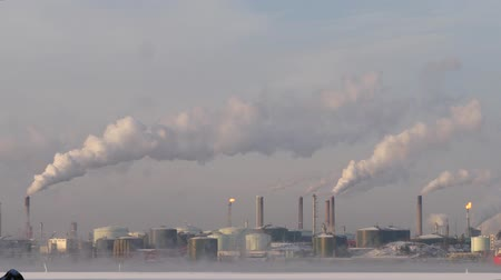 energetyka : industrial landscape smoke from the chimneys large plant against the blue sky in winter