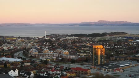 trondheim : Aerial view over central Trondheim, Norway, establishing shot 1