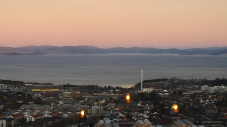 trondheim : Aerial view over central Trondheim, Norway, establishing shot 2
