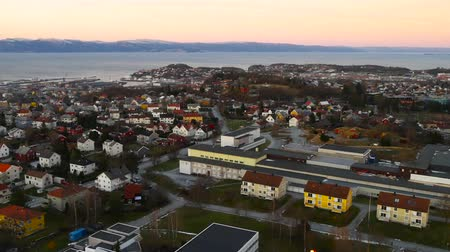 trondheim : Aerial view over central Trondheim, Norway, establishing shot 4