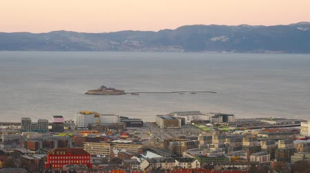 trondheim : Aerial view over central Trondheim, Norway, establishing shot