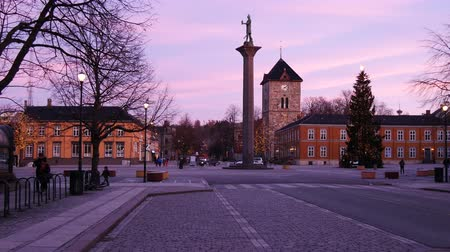 trondheim : Evening view on center of Trondheim, Norway, establishing shot Stock Footage