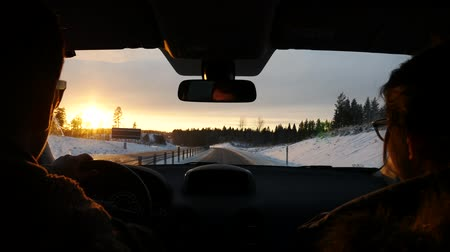 doğru : pov driving towards the sunset Stok Video