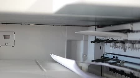 faks : Printing flies in a office, 4k UHD 2160p, dolly slider shot