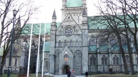 trondheim : facade of the Nidaros cathedral in Trondheim, Norway.
