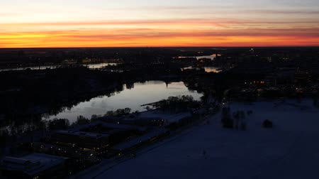 пересечение : Night Stockholm aerial view