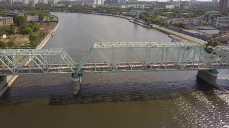 water rail : Aerial of Danilovsky Bridge across the Moskva River in Moscow. Camera slowly goes down
