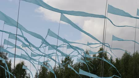 lots of : A lot of long blue flags flutter in the wind