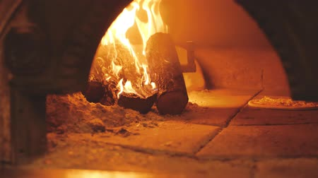 Burning firewood and pizza in wood-fired oven. Traditional italian cuisine