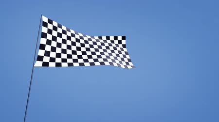 гонка : checkered flag blue sky Стоковые видеозаписи