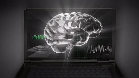 brain waves : white 3d brain wave 3D Stock Footage