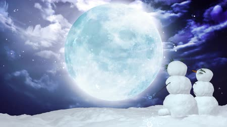 tebrik kartı : Snowman can use for Christmas and winter concept   Stok Video