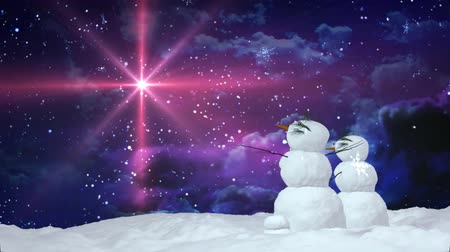 kardan adam : Snowman can use for Christmas and winter concept   Stok Video