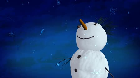 святки : snowman blue sky closeup