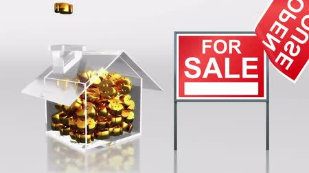 para kazanmak : investment saving at house open signage HD Stok Video