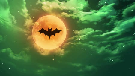 nietoperz : bat Halloween moon green horrible sky
