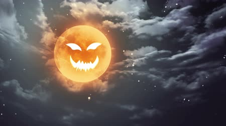 október : pumpkin face laughing icon with Halloween moon Stock mozgókép