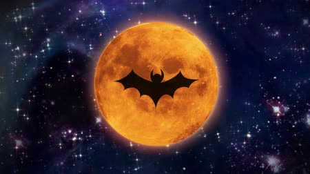 trik : bat shadow at pumpkin color Halloween moon