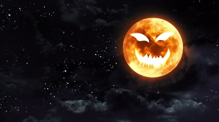 dynie : pumpkin face laughing icon with Halloween moon Wideo