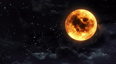 október : pumpkin orange color of the Halloween moon. Stock mozgókép