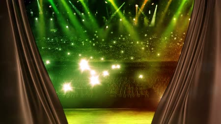 привело : curtain opening at the concert stage with color spotlight