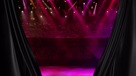 scena : curtain opening at the concert stage with color spotlight